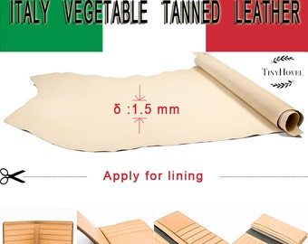 Italy Vegetable Tanned Leather, Lining Leather , Yellow of Leather Off Cuts,  Natural Vegetable Leather, [Thickness: 1.5 mm]
