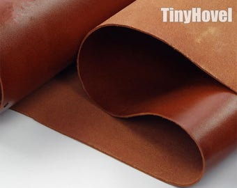Italy Vegetable Tanned Leather, Racehorse Brown of Leather Off Cuts, Italian Genuine Cowhide Leathercraft [Thickness: 1.8 mm] L004