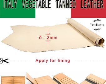 Italy Vegetable Tanned Leather, Lining Leather , Yellow of Leather Off Cuts,  Natural Vegetable Leather, [Thickness: 2 mm]
