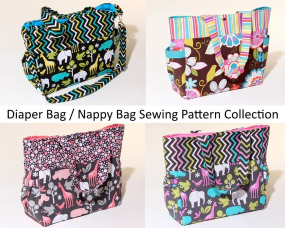 4 x Diaper Bags / Nappy Bags Downloadable Sewing Pattern