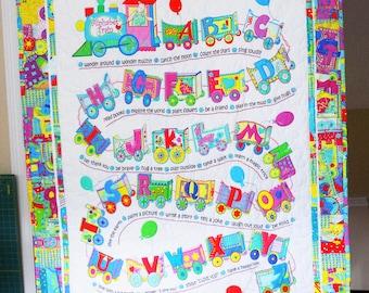 """BABY QUILT, Hand Quilted Blanket, Alphabet Train, Baby Shower, Floor Quilt, Toddler, Cotton Fabric, Original Designs, 47""""x38"""""""