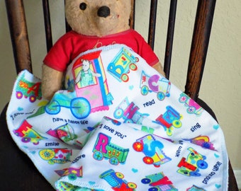 """BABY LOVEY, Train Cars Alphabet, Car Seat/Stroller Blanket, Minky, Baby Comfort, Baby Shower, New Baby Gift, Soothing, Easy Care, 16""""x16"""""""