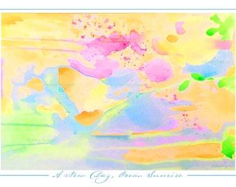 "OCEAN SUNRISE Art Print, ""New Day, Ocean Sunrise,"" Glorious Color, Abstract Art Poster, Wall Art, Poured Paint Technique, 18x24, 24x36"