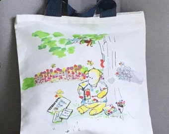 """KID'S TOTE BAG, Illustrated Resuable Child Tote, Birthday Bag, Library Bag, 12""""x13"""""""