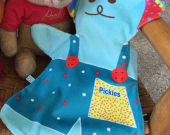 """BEAR BABY LOVEY, """"Pickles,"""" Baby Shower, Car Seat Lovey,  Stroller Lovey, Soothing, Minky, Snuggly, Easy Care, 10""""x12"""""""