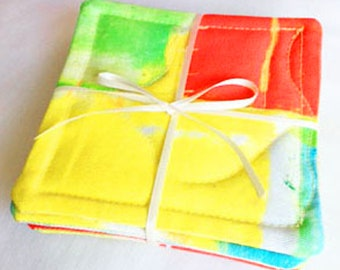 Drink Coasters, Quilted, Original Designer Fabric, House Warming, Birthday, Cotton Twill, Set of 4