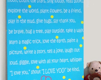 """Kid's Room DIY Wall Art, """"Kid Words to Live By,"""" FABRIC ONLY, fits on 24""""x36""""x1.5"""" canvas, gender-neutral turquoise"""