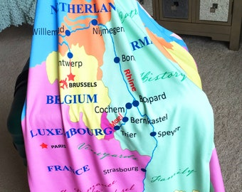 """PERSONALIZED RHINE RIVER Travel Wrap, Personalize for Your Treasured Travel Keepsake, Unique, Modern Jersey, 18""""x70"""""""