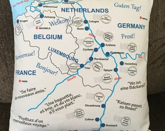 Rhine River Accent Map Pillow, Envelope Style, Travel Wishes in Three Languages, Postmarks, 16x16, Options: Cover Only or With Pillow Form