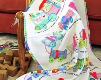 "CHILD BLANKET, Alphabet Train Blanket, Tracks are ""Kids Things to Do"", Talk to Your Toddler, Child, Reading Blanket, Fleece, 48x36"