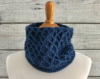 Cable Crochet Denim Colored Scarf