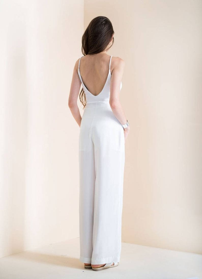 eb74b06eaa05af Jedwabne spodnie, biały jedwab noga Szerokie spodnie, wysokie zwężone  spodnie, Spodnie Palazzo, Amelia pant