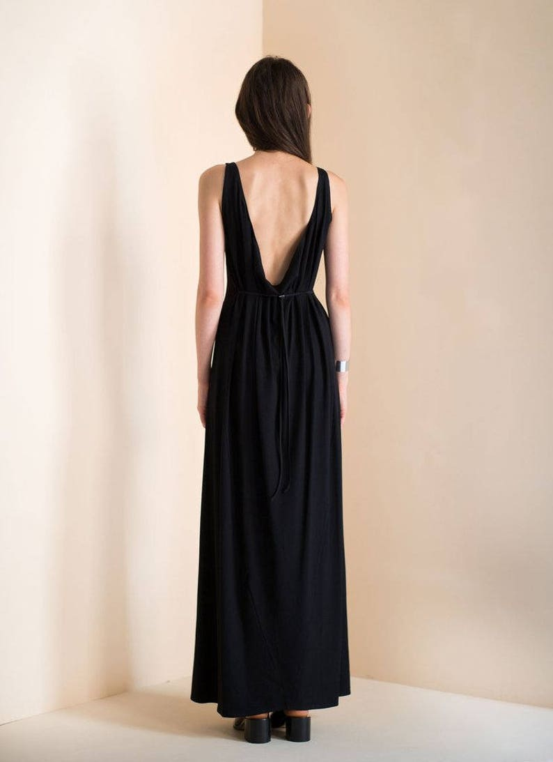 8ebce96f88 Low back maxi dress Black maxi dress Knit fabric Sexy low