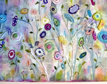 "16 x 20 Flowers ""Welcome to the garden"" original mixed media collage on canvas"