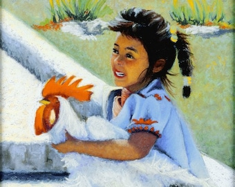 Fine Art Giclee Print, Niña Y Gallo, Girl and Rooster, Archival, Pastel Painting By Jan Maitland, Figure, Guatemalan Girl, Indigenous, 8x10