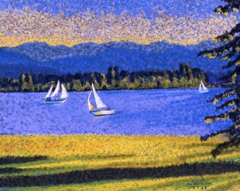 Sail Boats Fine Art Giclee Archival Print Sailing Sail Boats Blue Water Lake Mountains Pastel By Jan Maitland Waterscape Seascape 8 X 10
