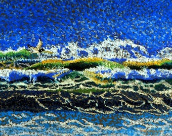 "Coastal Waves Fine Art Giclee Print Frothy Ocean Surf Sea Bird Pastel Painting By Jan Maitland Ocean View Blue Green White Seascape 8"" X 10"""