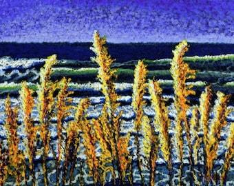 Seascape Fine Art Giclee Print, Sea Brush, Archival Print, Pastel Painting, Ocean View, Blue, Gold, Coastal Scene, Seascape, Sea Grass, 8x10