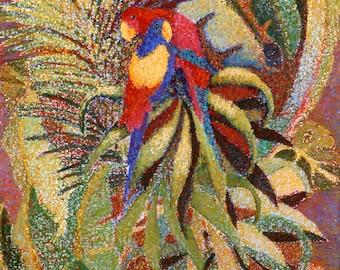 Parrots Fine Art Print, Exotic Birds, Giclee Print, Art Print, Pastel Painting By Jan maitland, Red, Yellow, Green, Orange, Blue