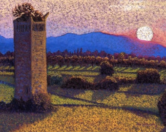 Trevi Italy Fine Art Print Italian Sunset Landscape Orchard Mountains Tower Giclee Archival Print Pastel Painting By Jan Maitland 8x10