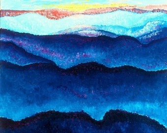 """Fine Art Print, Sky, Mountains, Northwest, Giclee Print, Oil Painting By Jan Maitland, Landscape, Blue, Gold, Pink, 8""""x10"""" Archival Print"""