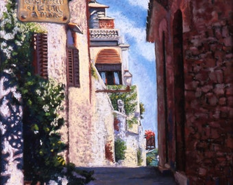 "Italy Landscape Fine Art Print, Giclee Print, San Gimignano, Pastel Painting By Jan Maitland, Cobbled Street, Stone Buildings, 8"" X 10"""