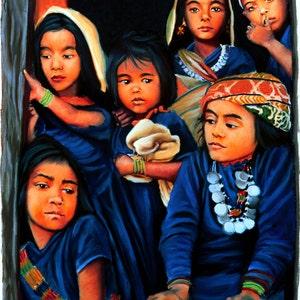 Siletz Generations Two Native American Women Figures Powwow Painting By Jan Maitland Native American Women Fine Art  Giclee Print Blue