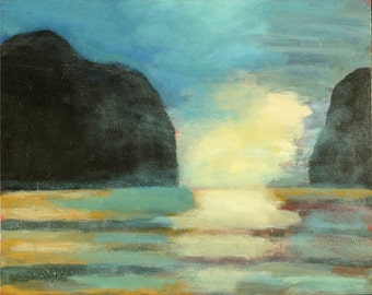 Seascape Fine Art Print, Blue Morning Bay, Giclee Print, Acrylic Painting By Robert Maitland, Mountains, Water, Waves, Blue Sky, 8x10