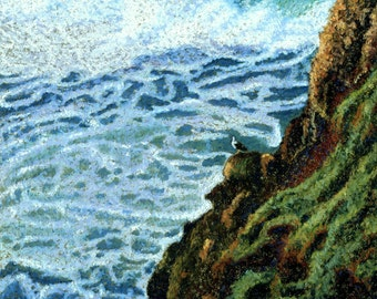 Seascape Fine Art Giclee Print Seagull's View Foamy Surf Waves Pastel Painting By Jan Maitland Ocean Scene Coastal Waves Rock Cliff 8X10