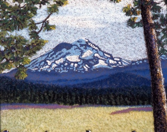 Fine Art Giclee Print, Mountain, Oregon Cascades, Pastel Painting By Jan Maitland, Landscape, Snowcapped Mountain, Blues and Greens