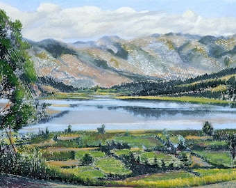 """Fine Art Giclee Print, Andes, Mountains, Lake, Landscape, Pastel Painting By Jan Maitland, Archival Print, 8"""" X 10"""", Signed by the Artist"""