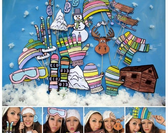 winter wonderland outdoor photo booth props - winter sports - perfect for your snowy ski vacation or Christmas winter party