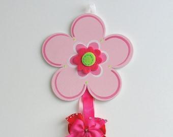 Pink Flower Barrette Holder
