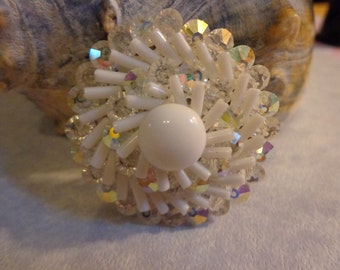 Vintage white brooch from West Germany