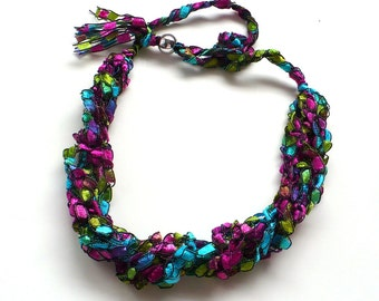 Pink & Aqua Ladder Yarn Necklace; Crocheted Ribbon Necklace, Fiber Jewelry, Vegan Jewelry, Handmade in the USA, Ready to Ship
