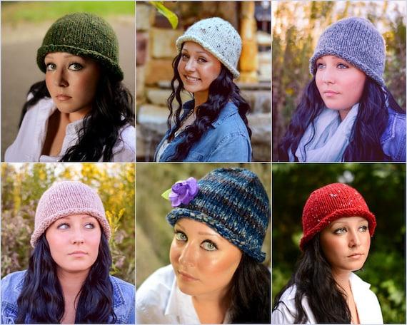 4a03f5f134a Custom Knit Hat  Rolled Brim Bucket Hat Retro Knit Hat Made