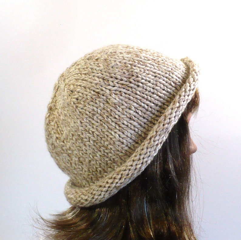 Hand Knit Rolled Brim Hat Ready to Ship One Size Off-White Bucket Hat Hipster Hat Vegan Hats Handmade in the USA