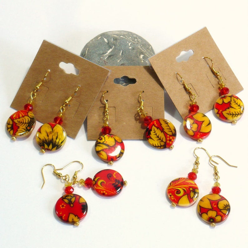 Nickle-Free Earrings with Painted Shell Disks Handmade Jewelry Little Gifts for Her Mod Style Flower Earrings Flower Power Earrings