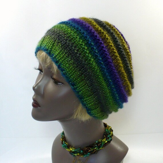 Green Striped Beanie Green Blue and Purple Hand Knit Hat  408224cd96a