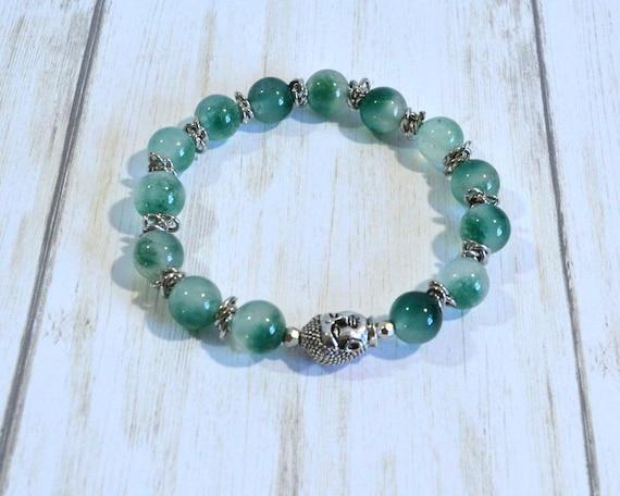Seafoam Green Beaded Bracelet, Green Flourite Stones, Handmade Stretch Bracelet, Woman's or Man's Bracelet