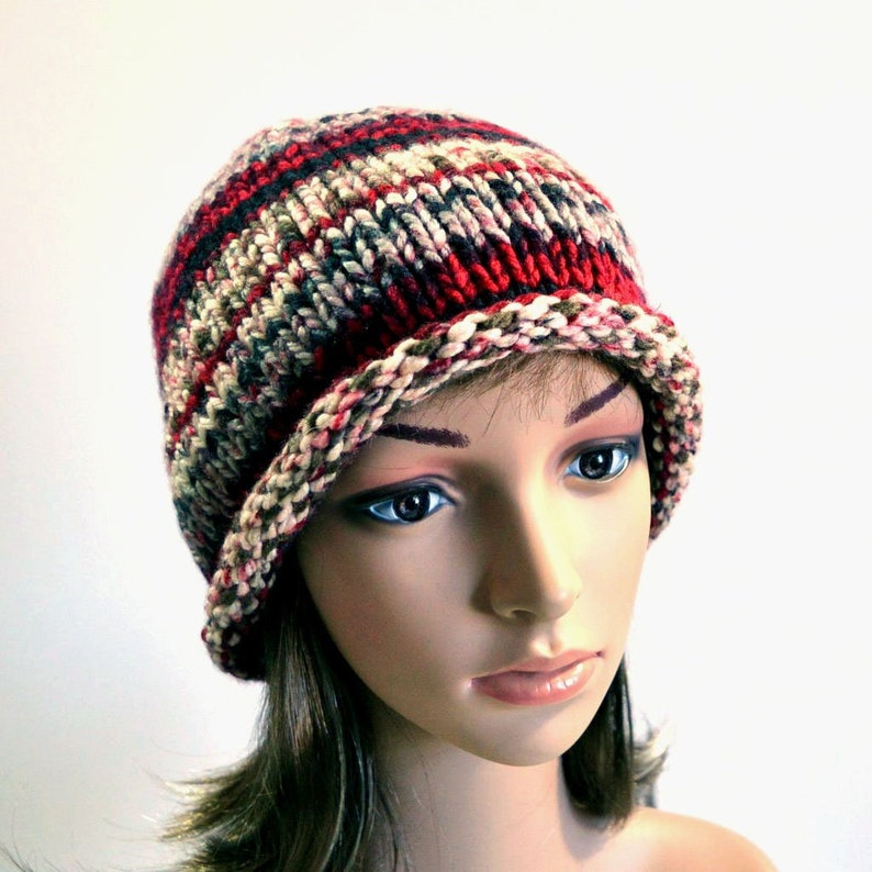 6fee31a69 Hand Knit Striped Beanie; Winter Hat with Red-White-Gray-Black Stripes,  Rolled Brim Hat, Retro Bowler Hat, Vegan Knits, Handmade in the USA