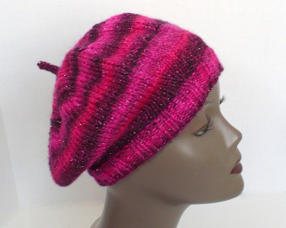 Raspberry Beret Hot Pink Slouchy Tam Hand Knit Hat Striped  127654421ac