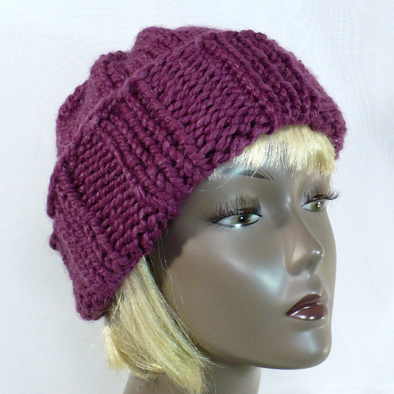 9dbe2327 Hand Knit Purple Watch Cap Slouchy Beanie in Fig Unisex Wool | Etsy