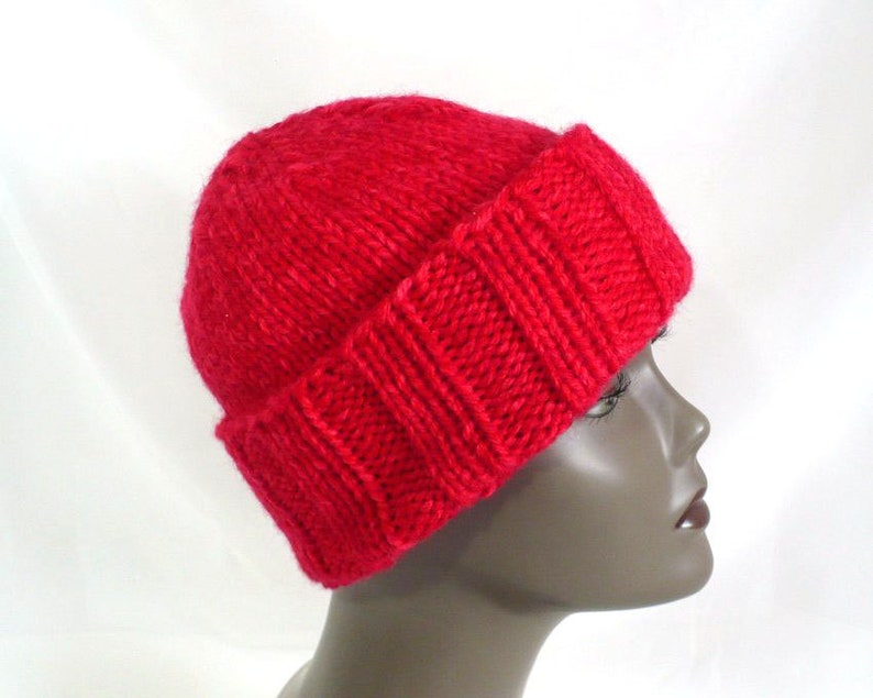 5ba3fe5ea Bright Red Watchcap, Hand Knit Slouchy Beanie; Man's or Woman's Winter Hat,  Chunky Knit S/M Hat, Handmade in USA, Ready to Ship