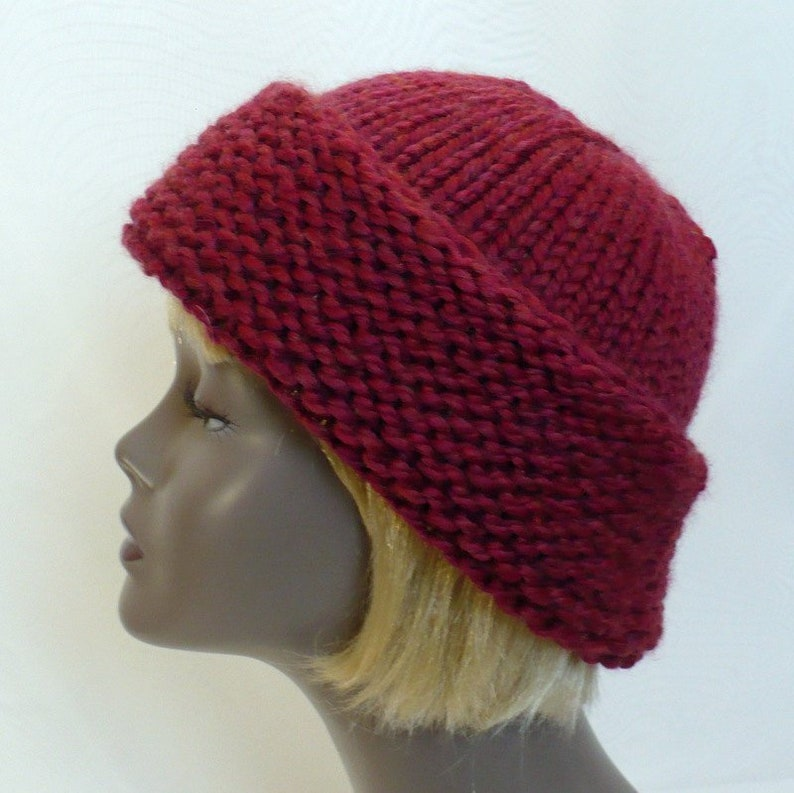 466ea4d6e70 Russian Style Hat in Maroon Hand Knit Wool Cap Winter Toque