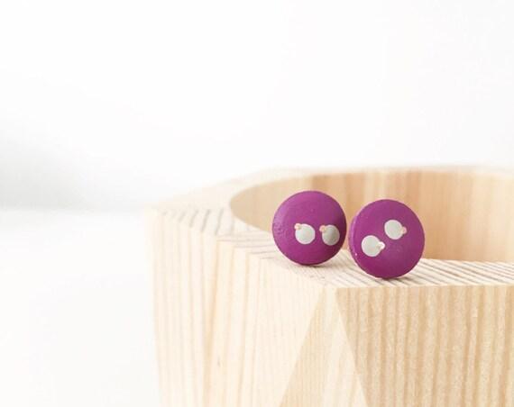 Wood Stud Earrings, Purple, Grey + Bronze