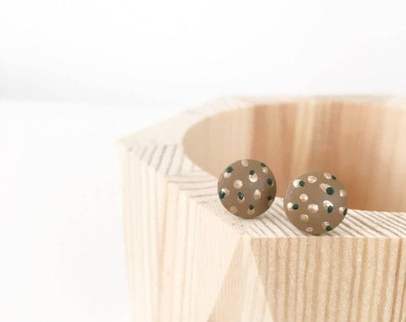 Wood Stud Earrings, Brown, Green + Bronze