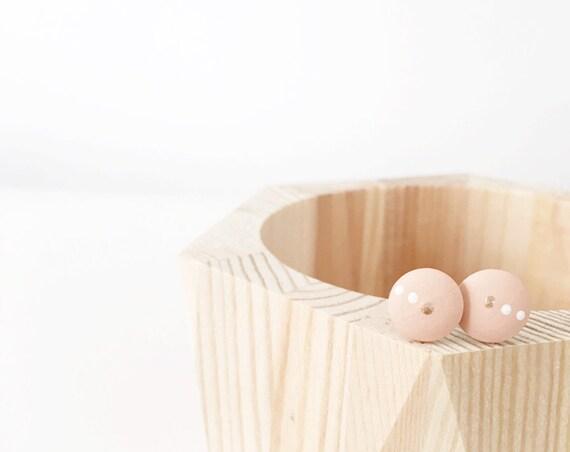 Wood Stud Earrings, Nude, Bronze + White