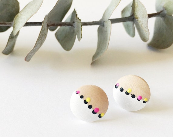 Wood Stud Earrings, White, Yellow, Magenta + Black
