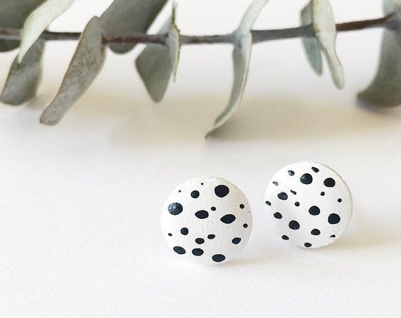 Wood Stud Earrings, White + Black